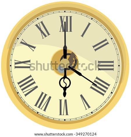 Golden wall clock vector isolated. Clock on wall shows four o'clock. Roman numeral clock - stock vector