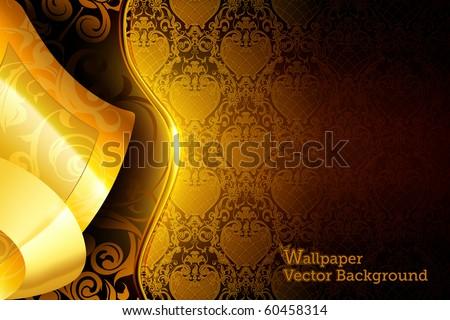 Golden wallpaper background, eps10 - stock vector