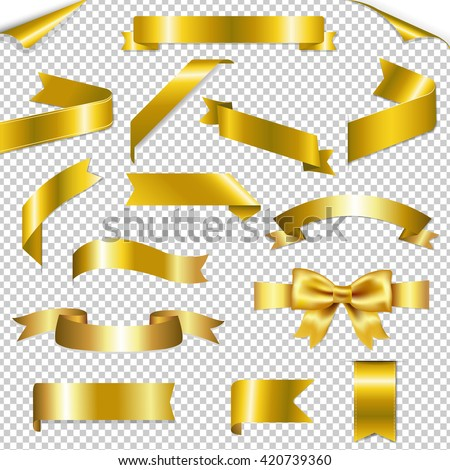 Golden Web Ribbons Collection, Isolated on Transparent Background, With Gradient Mesh, Vector Illustration - stock vector