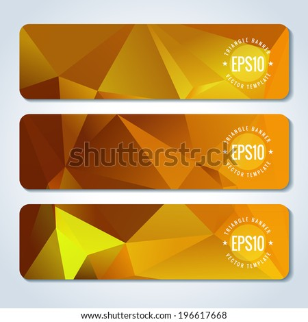 Golden website header or banner set with triangle pattern