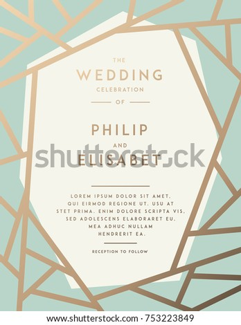 Golden wedding invitation abstract modern pattern stock vector golden wedding invitation with abstract modern pattern vector template stopboris Gallery