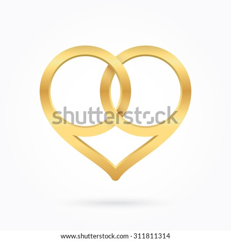 Golden wedding rings. Golden heart shape. - stock vector