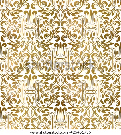Golden White Vintage Seamless Pattern Gold Royal Classic Baroque Wallpaper Arabic Background Ornament