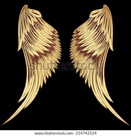 Golden Wings - stock vector