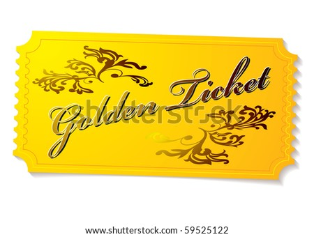 golden winning competition ticket with floral elements and shadow - stock vector
