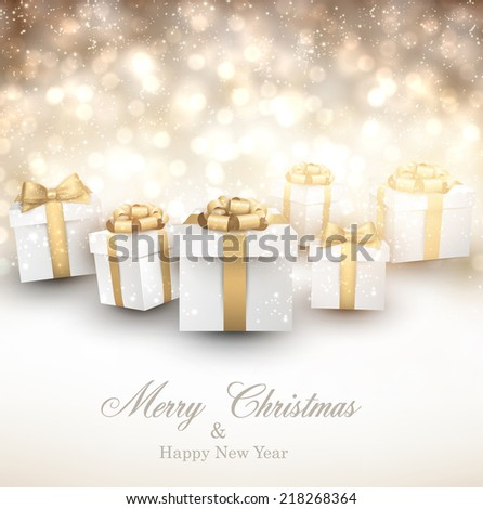 Golden winter background. Fallen defocused snowflakes. Christmas gifts. Vector illustration.  - stock vector