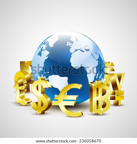 golden world currency symbols moving around 3d world for global economic concept, vector illustration - stock vector