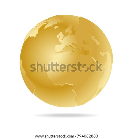 Golden world globe vector icon europe stock photo photo vector golden world globe vector icon europe and africa blue map famous continents in the world gumiabroncs Image collections
