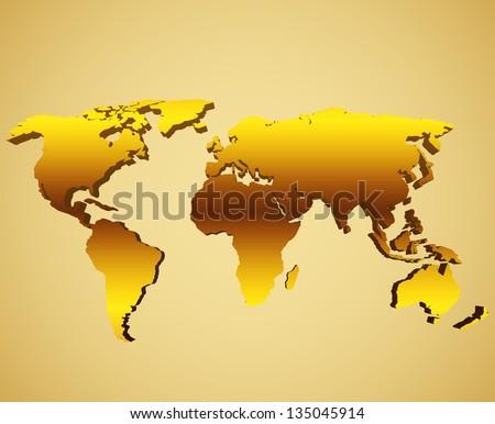 Golden world map - stock vector