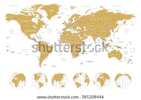 Golden world map borders countries cities vector de stock385208446 golden world map borders countries cities and globes illustration highly detailed vector gumiabroncs Images