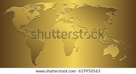 Golden world map on gold background stock vector 619950563 golden world map on gold background gumiabroncs Gallery