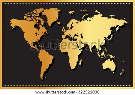 Golden world map.Vector illustration. - stock vector
