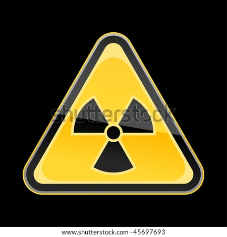 Golden yellow hazard warning sign with radiation symbol on black background