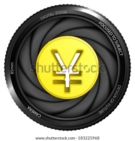 golden Yuan coin in shutter ready to snapshot isolated vector illustration