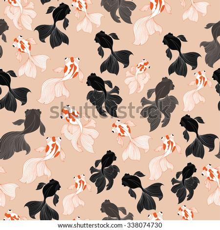 GoldFish and Blackmoor Pattern.Seamless Pattern Background.