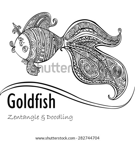 Goldfish and patterned tail black line on a white background