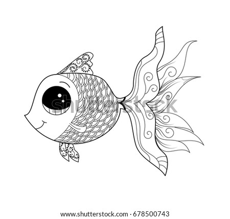 Goldfish Coloring Page Adult Child Vector Stock Vector 678500743