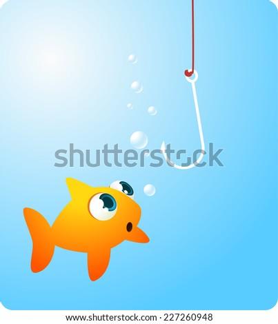 Goldfish fish looking terrified at a hook vector illustration. - stock vector