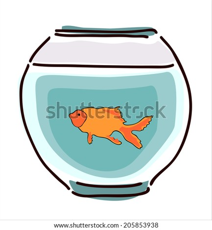 goldfish in a fishbowl on white background - stock vector