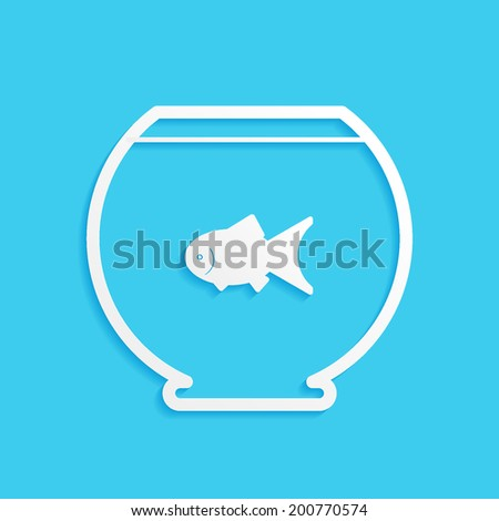 Goldfish in aquarium isolated on blue background - stock vector