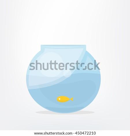 Goldfish  in fish bowl. Cartoon vector illustration - stock vector