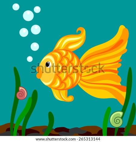 goldfish in the water - stock vector