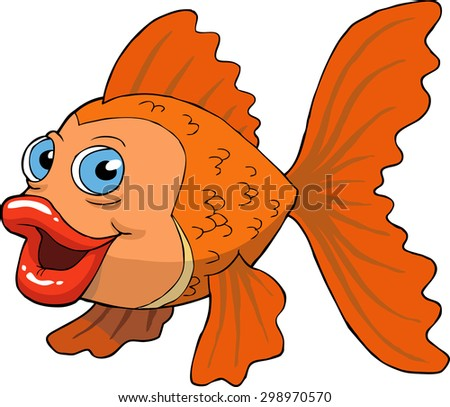 Goldfish on a white background vector illustration - stock vector