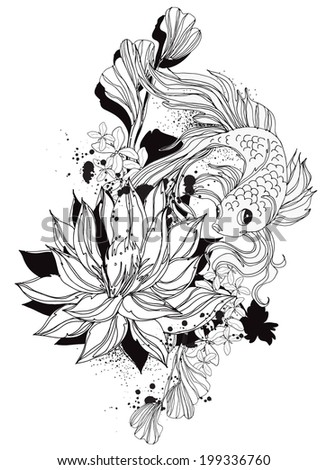 Goldfish with lotus black and white - stock vector
