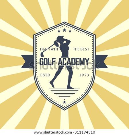 Golf Academy vintage logo, emblem, badge with female golf player swinging golf club, vector illustration, eps10, easy to edit - stock vector