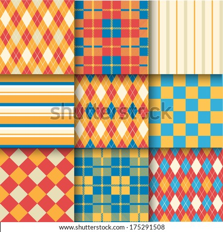 Golf backgrounds. Seamless pattern background with blue, red and yellow color. Vector illustration. Pattern Swatches made with Global Colors - quick, simple editing of color - stock vector