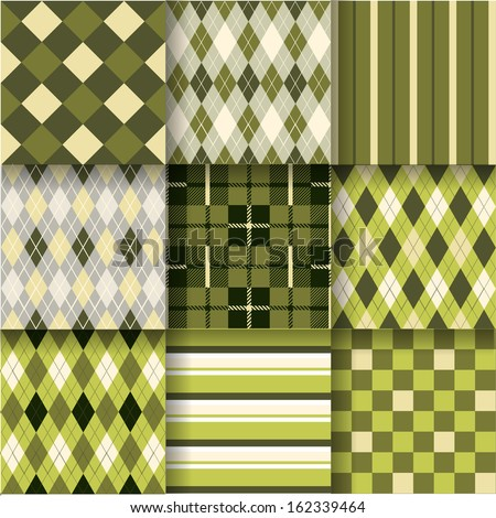 Golf backgrounds. Seamless pattern background with green, yellow and grey colors. Vector illustration. Pattern Swatches made with Global Colors - quick, simple editing of color - stock vector