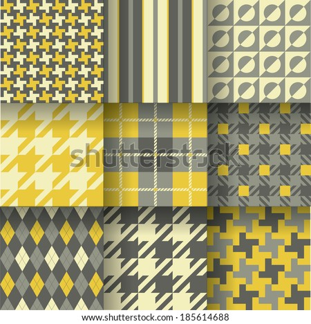 Golf backgrounds. Seamless pattern background with grey & yellow colors. Vector illustration EPS-10. Pattern Swatches made with Global Colors - quick, simple editing of color - stock vector