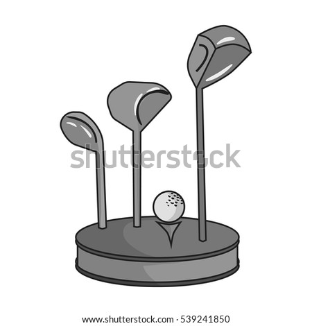 Golf ball and clubs on grass icon in monochrome style isolated on white background. Golf club symbol stock vector illustration.