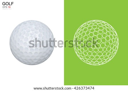 Golf ball and golf ball wireframe. Vector sport sign and symbol. - stock vector
