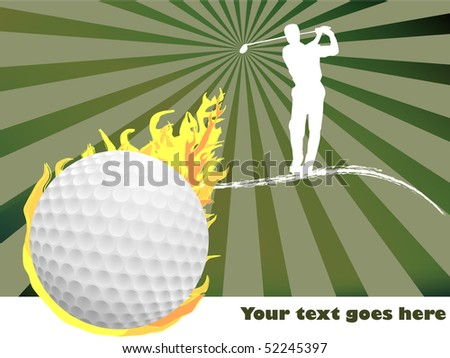 Golf ball and golfer with starburst background - stock vector