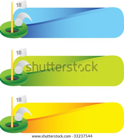 golf ball going into eighteenth hole - stock vector
