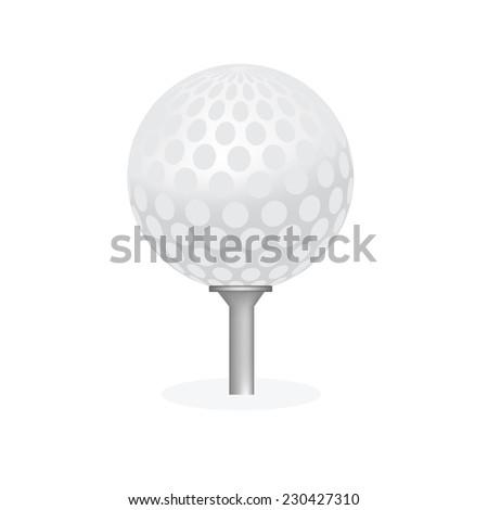 Golf ball, golf ball isolated, golf tee, golf ball on tee - stock vector
