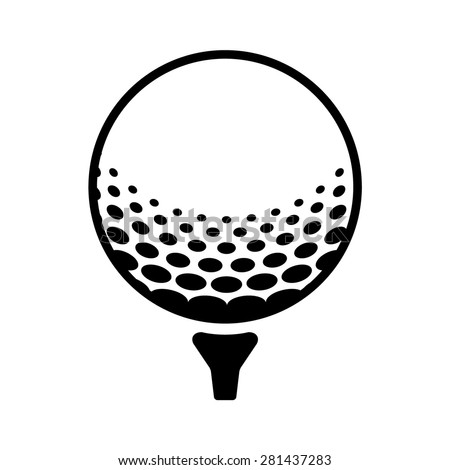 golf ball golfball on tee line stock vector 281437283 shutterstock rh shutterstock com Golf Ball Silhouette Golf Ball Silhouette