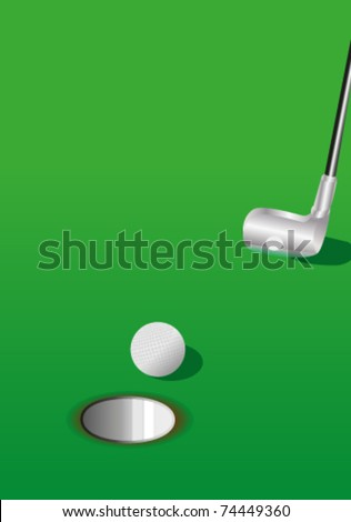 Golf ball, hole and putter on green