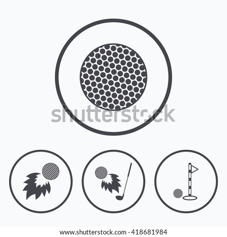 Golf ball icons. Fireball with club sign. Luxury sport symbol. Icons in circles. - stock vector