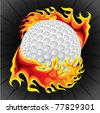 golf ball in flame - stock photo
