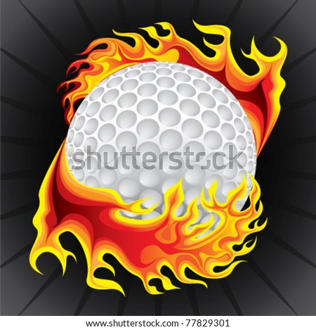 golf ball in flame - stock vector