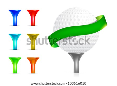 Golf ball isolated on white - stock vector