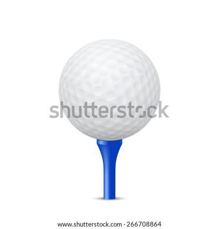Golf ball on a blue tee, isolated. Vector EPS10 illustration.  - stock vector