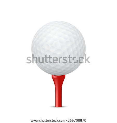 Golf ball on a red tee, isolated. Vector EPS10 illustration.  - stock vector