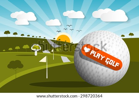 Golf Ball on Field with Sun and Sky and Love Play Golf Title - Vector - stock vector