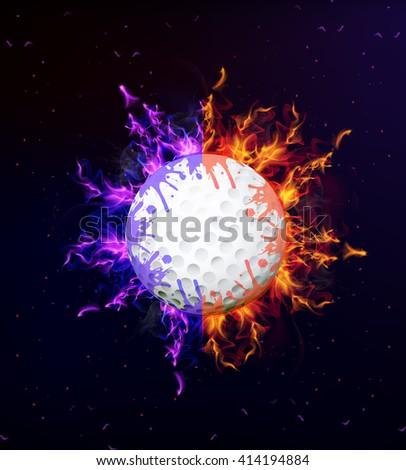 golf ball on fire - stock vector