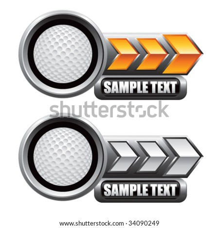 golf ball on glossy arrow web button - stock vector