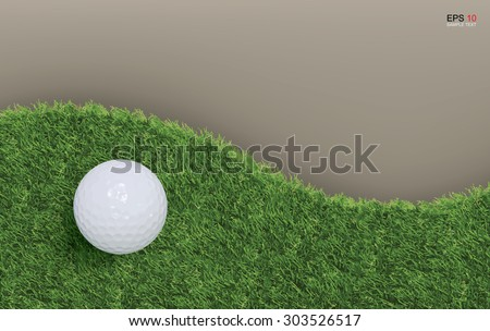 Golf ball on green grass background of golf course. Vector illustration.
