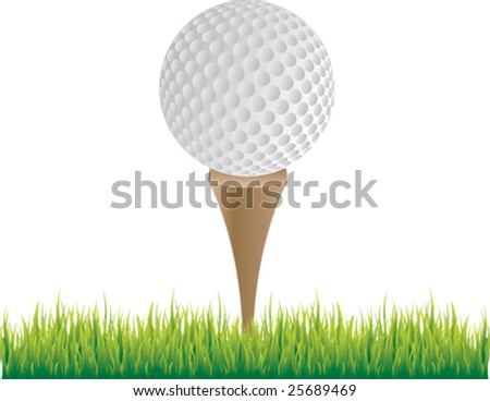 golf ball on tee - stock vector